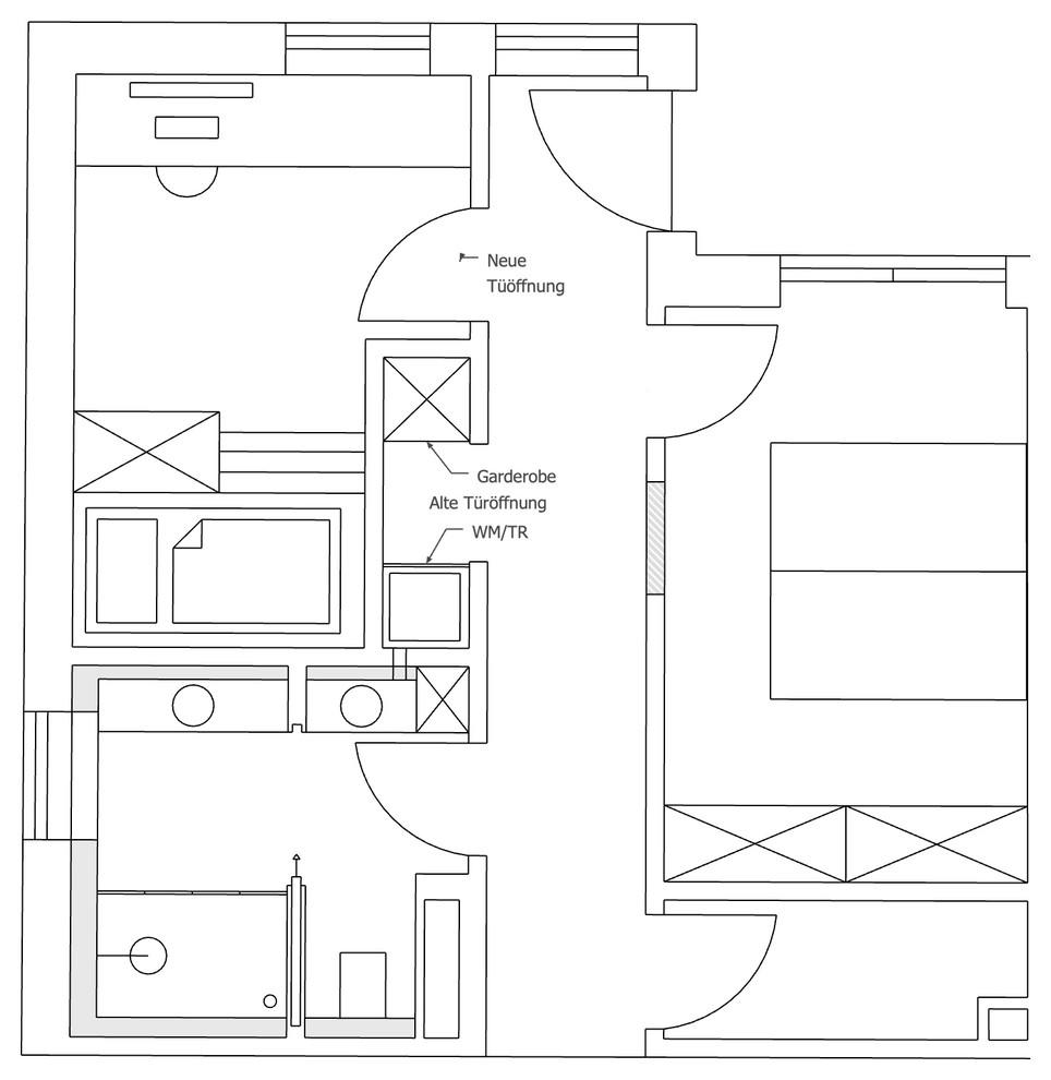 Variante Kinderzimmergestaltung und Flur mit WM/TR