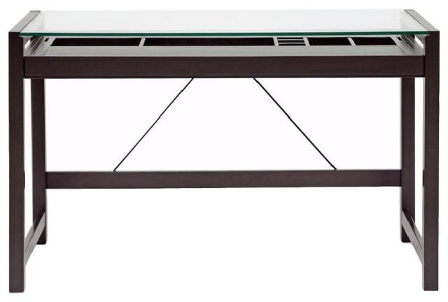 Baxton Studio Idabel Dark Brown Wood Modern Desk Wit&x27;s Top.