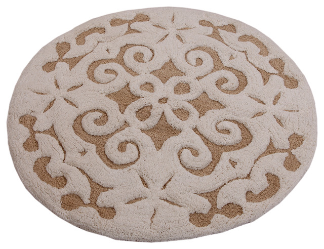 Saffron Fabs Bath Rug Cotton 36 Inch Round 200 Gsf Damask