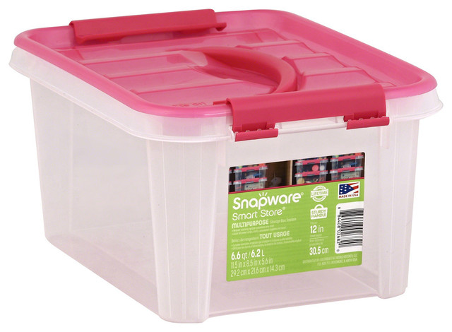 Snapware 11.5x8.5x6 Clear/pink Smart Store Poly Home Storage Container.