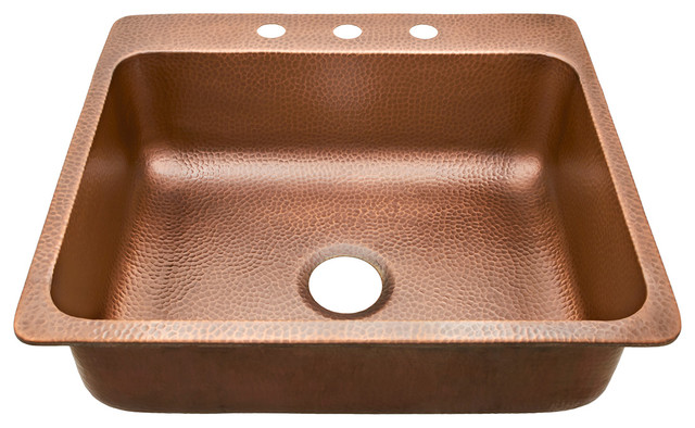 "Rosa 25"" Drop-In Copper Kitchen Sink, Antique Copper."