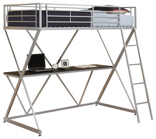 stackable patio chairs dhp x shaped metal loft bunk bed in silver 28764