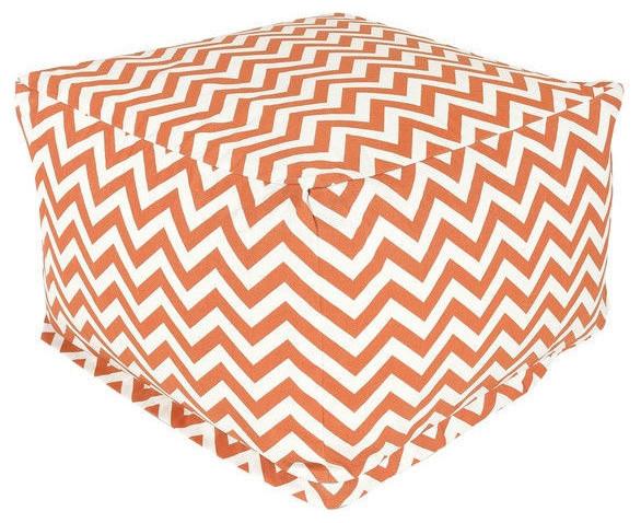 Burnt Orange And White Chevron Stripe Bean Bag Chair Ottoman Made Usa Contemporary