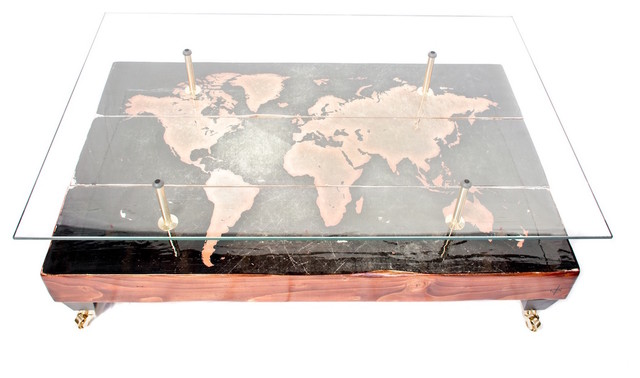 Old World Map Coffee Table.Antique World Map Coffee Table Rustic Coffee Tables By Cappa E
