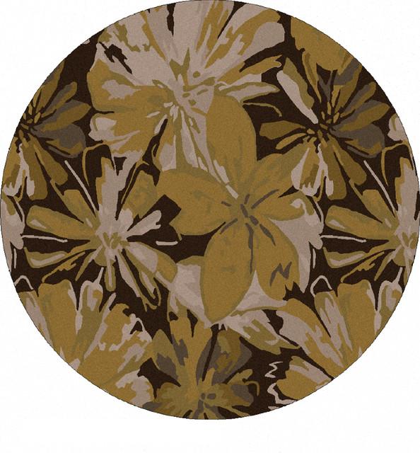 Surya Athena Contemporary Abstract Round Gold 4&x27; Round Area Rug.