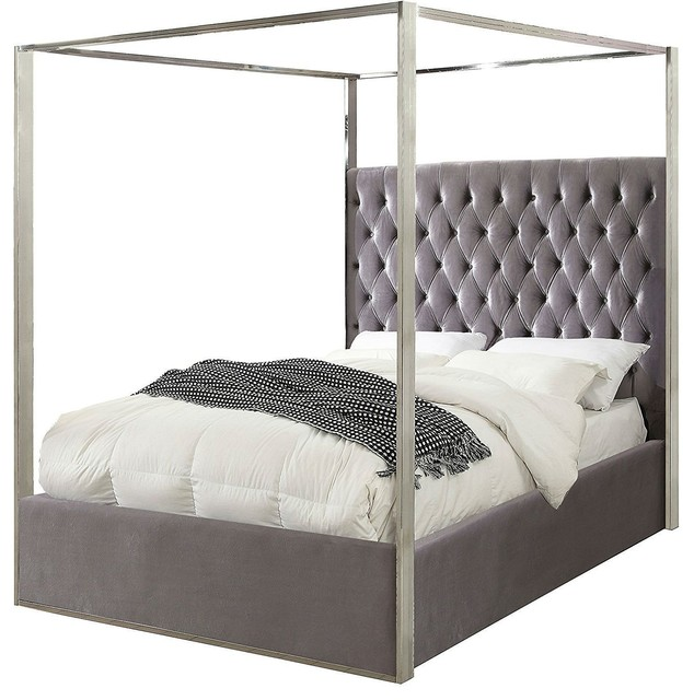 King size Grey Velvet Upholstered Canopy Bed with Chrome ...