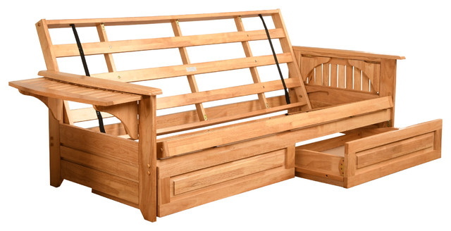 Mesa Frame Futon With Natural Finish Storage Drawers Only