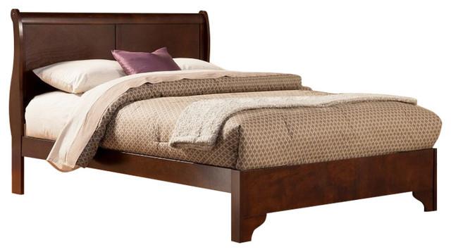 Rubberwood Low Footboard Sleigh Bed, Eastern King, Brown.