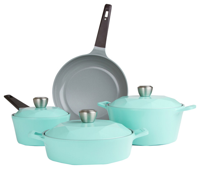 Carat 7-Piece Ceramic Cookware Set, Fresh Green.