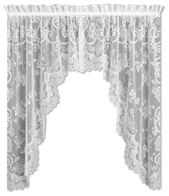 english ivy swag pair victorian valances by heritage lace. Black Bedroom Furniture Sets. Home Design Ideas