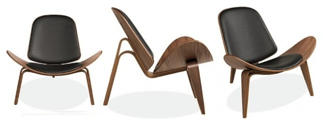 hans wegner shell chair in modena black by rove concepts