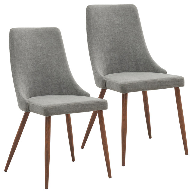 Attrayant Rigby Mid Century Modern Upholstered Dining Chairs, Gray, Set Of 2