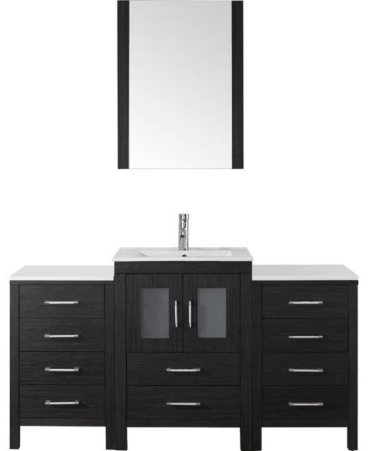 Windsor Single Vanity With Mirror, Zebra Gray, Ceramic Countertop, 60.