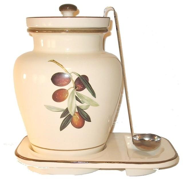 1-Gallon Ceramic Olive Themed Container, Cream.