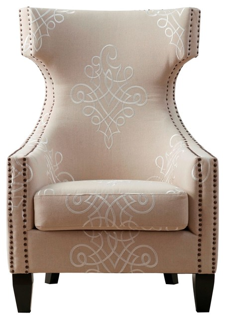 Gramercy Embroidered Linen Wing Chair.