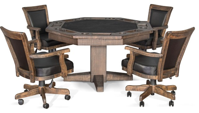 Henry Convertible Poker and Dining Table With Chairs