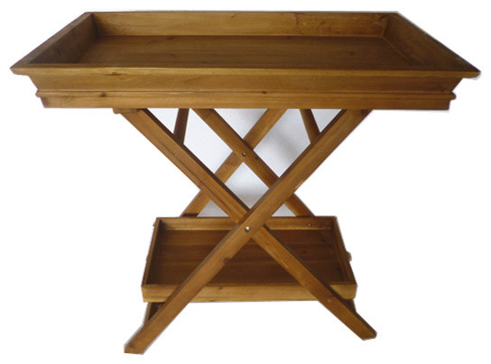 Home Garden Collections   Foldable Wooden Serving Tray, Butlers Tray, Stand  And Bottom Shelf