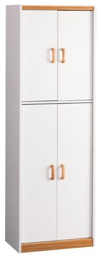 Modern Pantry Cabinet in MDF with 4 Doors and 5 Shelves, Perfect for Storage