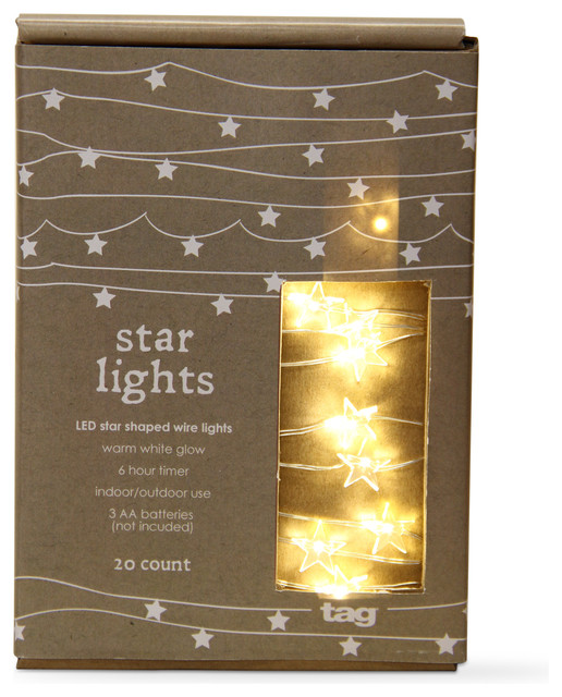 Tag Christmas 20 Count Led Star Shaped Wire Lights, Clear.