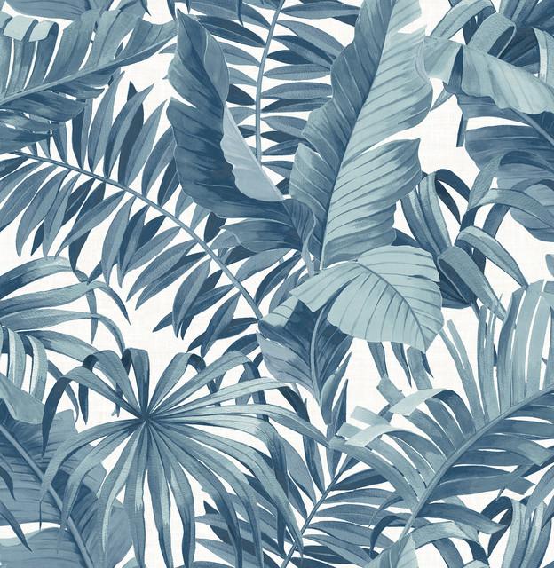 Alfresco Navy Palm Leaf Wallpaper Bolt