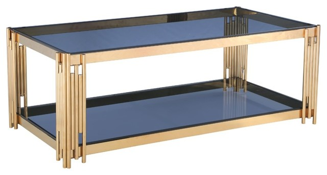 Gold Coffee Table Glass Top.Modrest Alameda Modern Smoked Glass And Gold Coffee Table
