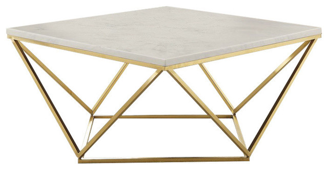 Contemporary Faux Marble Coffee Table, White and Gold
