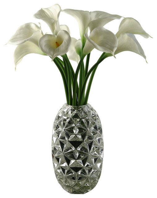 Large White Natural Touch Calla Lilies In Silver Glass Vase