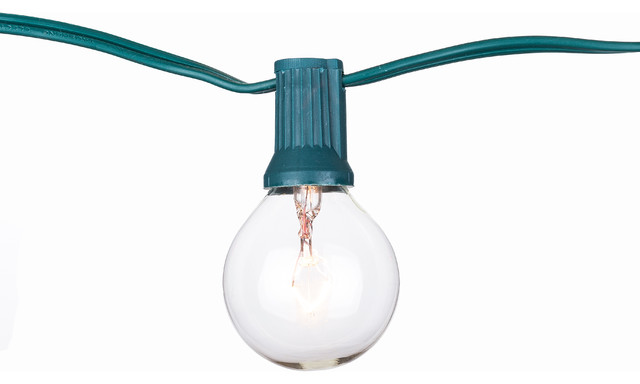 Party Lights, 25&x27;, Green Cord With Clear Bulb, Clear Bulb.