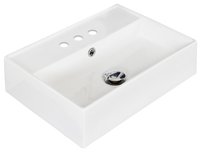 Above Counter Rectangle Vessel, White For 4 O.c. Faucet, 20x14.