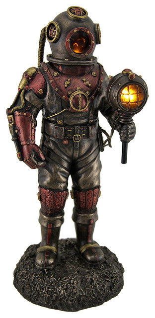 Lighted Steampunk Skeleton Diving Suit Statue