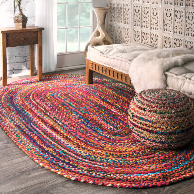 Casual Handmade Braided Cotton Area Rug, Multi, 3'x5' Oval