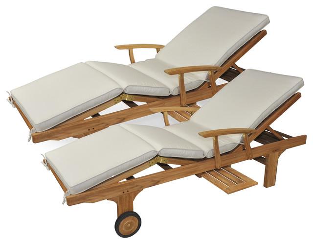 Teak Chaise Lounge With Cushion Pair, Goldenteak, Canvas Canvas.