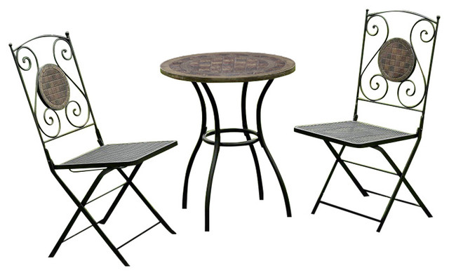 3 Piece Dining Outdoor Patio Table And Chairs With Decorative Stone Top  Traditional Outdoor