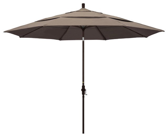 11&x27; Aluminum Umbrella Collar Tilt Bronze, Sunbrella, Taupe.
