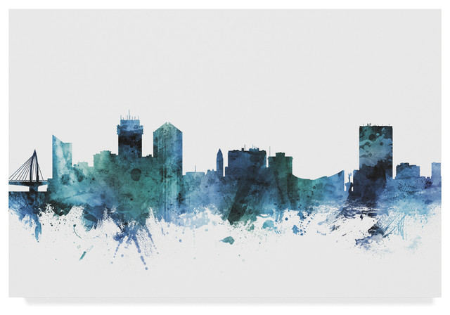 Michael Tompsett Wichita Kansas Blue Teal Skyline Canvas