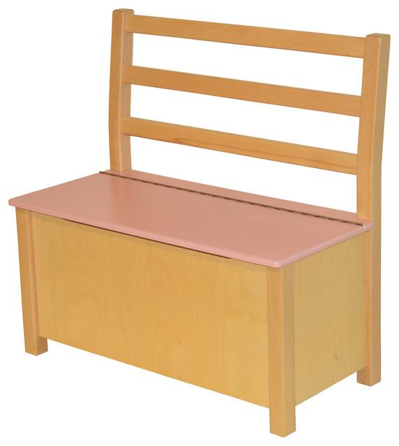 Surprising Nils Natural Wood Childrens Storage Bench Pink Spiritservingveterans Wood Chair Design Ideas Spiritservingveteransorg