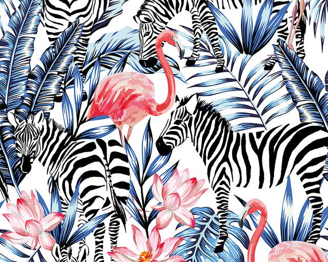 Zebra and Flamingo Wall Mural