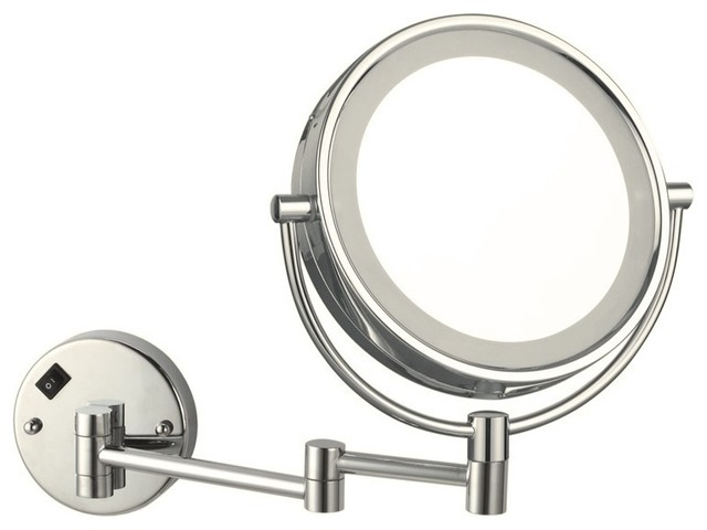 Rectangular Over Mirror Light In Matt Nickel Or Polished Chrome: Double Face LED Lighted 3x Mirror