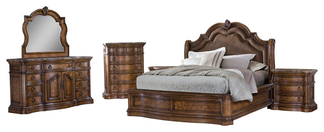 Marvelous San Mateo 5 Piece Bedroom Set, Queen Traditional Bedroom Furniture Sets
