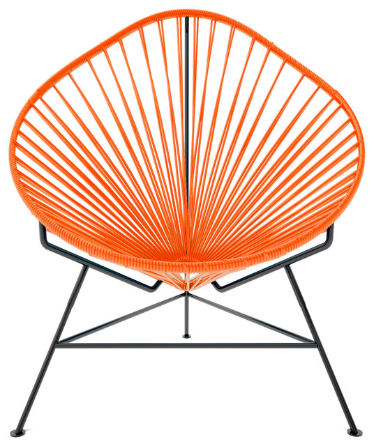 Baby Acapulco Chair With Black Frame, Orange Weave