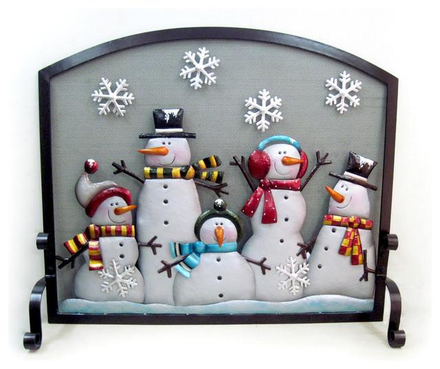 Wintry Holiday Snowman Flatguard Firescreen 39\