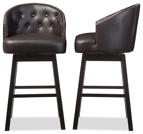 Avril Faux Leather Tufted Swivel Barstool With Nail Heads