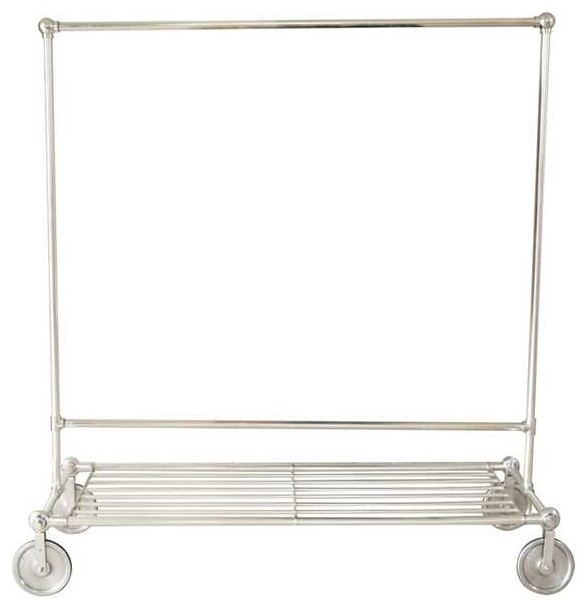 antique silver brass rolling garment rack