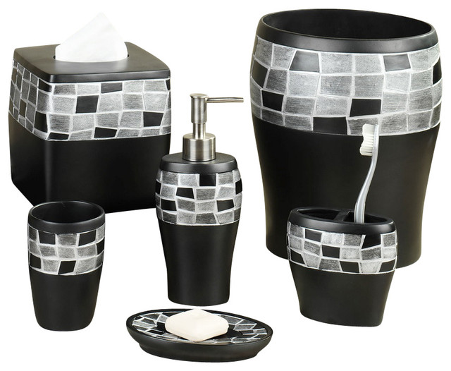 6-Piece Mosaic Stone and Resin Bath Accessory Set, Black