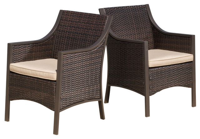 Orchard Outdoor Brown Wicker Dining Chairs With Tan Cushions Set Of