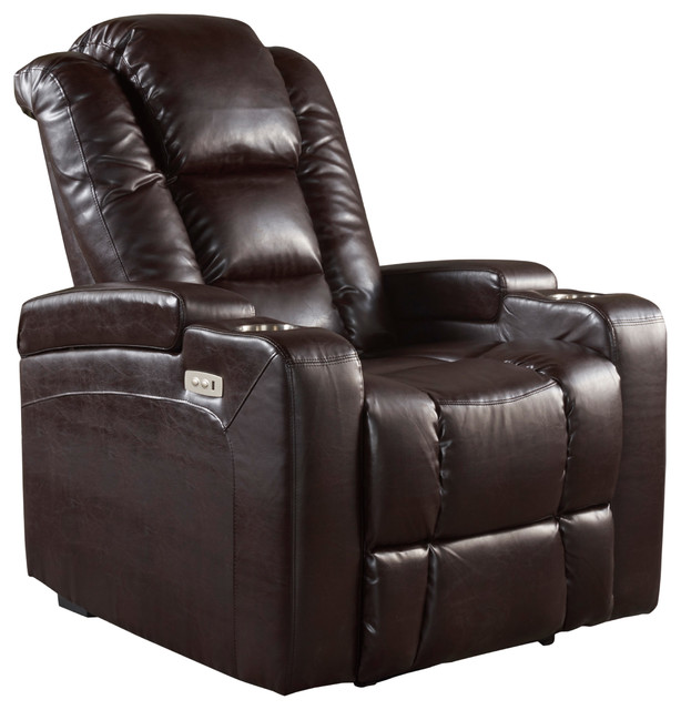 Superieur Everette Tufted Brown Leather Power Recliner With Arm Storage And USB Cord