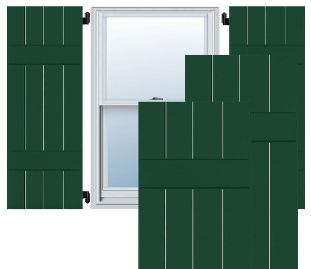 "15"" x 38"" Exterior 4-Board Pine Board-n-Batten Shutters, Chrome Green"