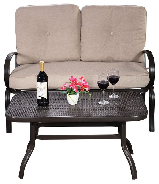 2-Piece Patio Outdoor Loveseat And Coffee Table Set With Cushion.