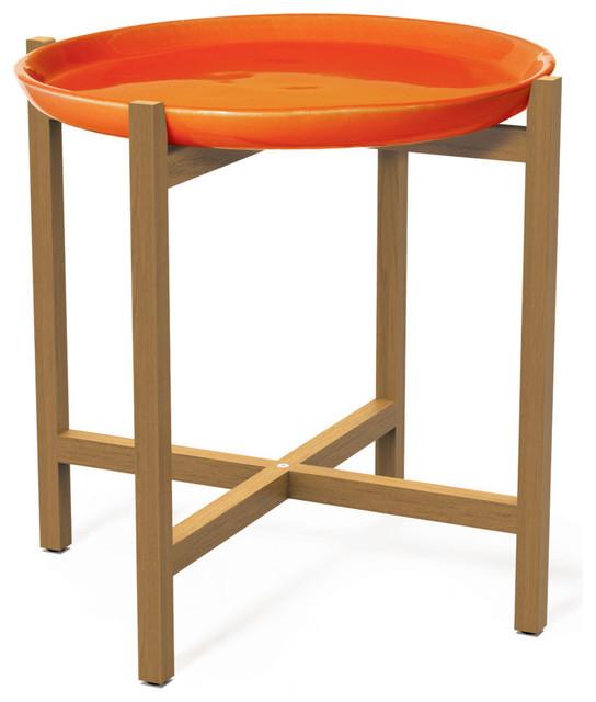 Ibis Ceramic And Teak Accent Table, Orange.