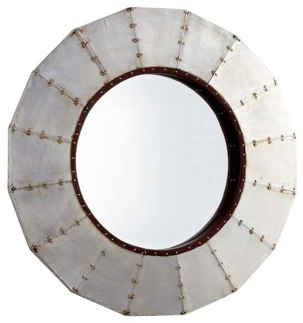 Industrial Wall Mirror cyan design steel wheel round mirror, raw steel - industrial